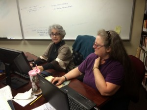 Mary and Judith working at the office, Liberty           University, Lynchburg, VA.